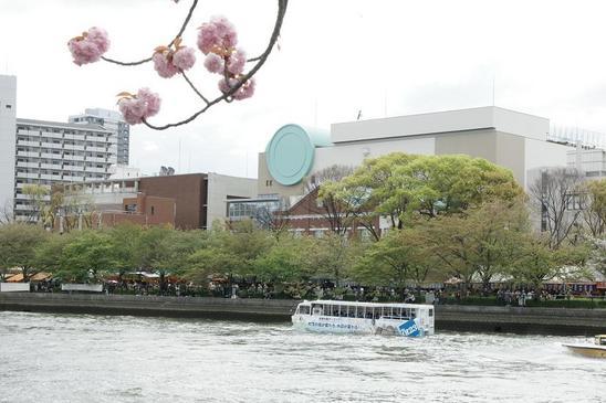 対岸からの造幣局と水陸バス2.JPG